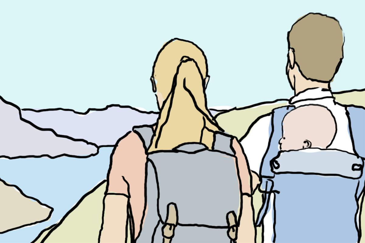 Der perfekte gepackte Rucksack für eine Wanderung mit Baby