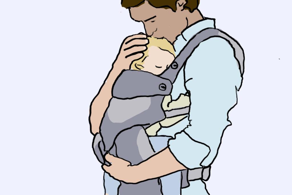 Babys richtig tragen || Zum Elternteil schauend und mit gemeinsamer Blickrichtung